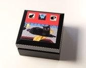 Home Sweet Apartment Wooden Keepsake Box, Apartment Warming Gift, Apartment Sweet Apartment, Black Cat, Cat Artwork, Deborah Julian