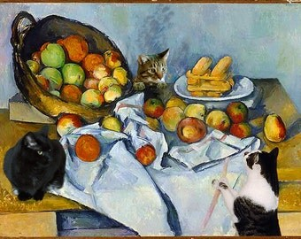 Set of 10 Cezanne Apple Basket Cat Greeting Cards, Stationery Cards, Stationery Gift Set, Handmade Cards, Cat Art, Deborah Julian