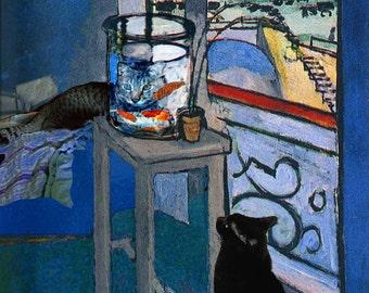 Blank Notecards, Funny Card, Henri Matisse Goldfish,  Greeting Cards, Note Cards, Whimsical Art, Deborah Julian