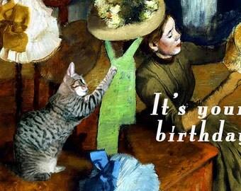 Cat Lover Fine Art Birthday Card, Handmade, Cat Artwork, Funny Cards, Happy Friend Birthday, Deborah Julian
