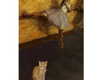 Cat Greeting Cards, Blank Note Cards, Notecard Set (10), Edgar Degas, Orange Tabby Cat, Ballerina Art, Deborah Julian