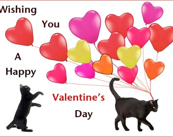 Valentine Card, Cat Lover, Valentine Day Card Set, Black Cat Art, Valentine