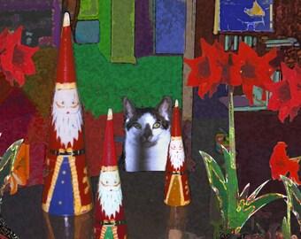 Cat Christmas Cards -Cat and Santas- Set of 5 Cat Christmas cards