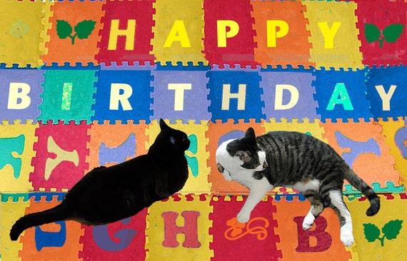 Birthday Card Cat- Black Cat Card- Alphabet Birthday- Crazy Cat Lady Birthday Card