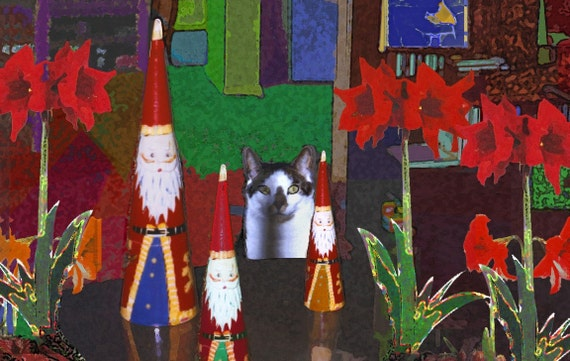 Cat Christmas Cards -Cat and Santas- Set of 5 Cat Christmas cards