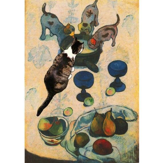 Paul Gauguin's Cat Art Print, Three Puppies, Whimsical Print, Cat Lover Gift, Artwork by Deborah Julian