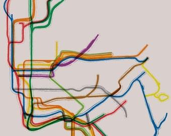 New York City Subway Cafe Mount - 16x20