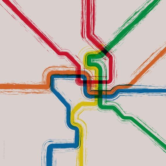 Washington DC Metro Map Cafe Mount - 20x20