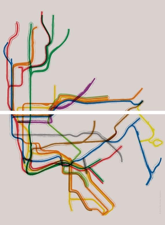 New York City Subway Gallery Wrap Split Panel Canvas- 24x33