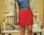 blue scalloped blouse