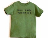 Size 6-7 Boy Definition Screenprinted Children's T-shirt in Green Heather with black ink - TeezLoueez