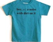 Size 6-7 Screenprinted Childrens Tee Shirt Boy Definition Text Teal Blue Heather Shirt with Black Ink