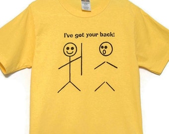 Stick People Screenprinted Tee Yellow with Black Ink Got Your Back size Small