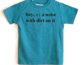 Size 8 Screenprinted Childrens Tee Shirt Boy Definition Text Teal Blue Heather Shirt Black Ink