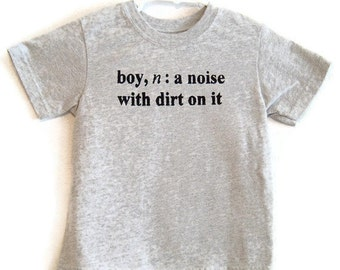 Boy Definition Screenprinted Children's T-shirt Grey Heather Black Ink Sizes 6-8