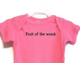 Raspberry Bodysuit onesie Screenprinted Black Fruit Of The Womb Text