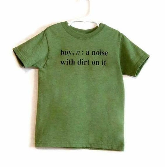Size 8 Boy Definition Screenprinted Children's T-shirt in Green Heather with black ink