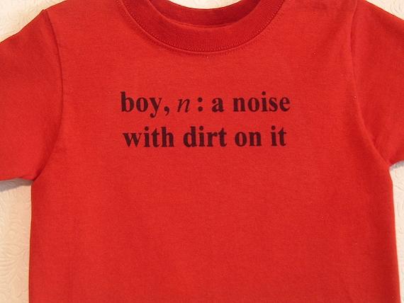 Size 3T Red Boy Definition Screenprinted Children's T-shirt Black Ink