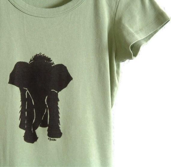 Baby Elephant Screenprinted Tshirt Moss Shirt Black Ink