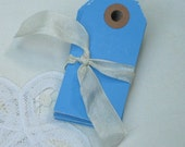 TAGS 50 small medium blue hang tags size 1
