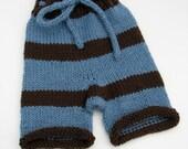 Medium Blue/Brown Shorties - Wool Soaker - Seconds