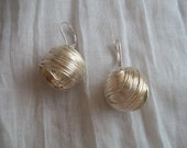 Wrapped Wire Ball Earrings