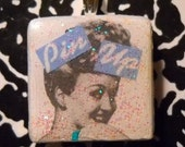 altered scrabble tile pendant PIN UP