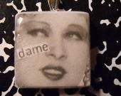 """scrabble tile """"dame"""" mae west"""