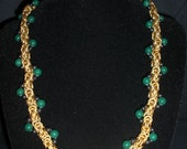 Gold Byzantine Necklace with Green Jade