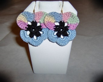 Pastel Pansy Earrings/Free Shipping