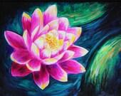 Tokyo Lotus, Original Acrylic Painting on Canvas