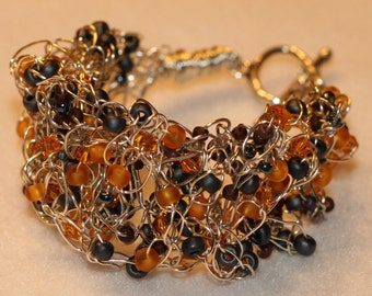 Slate and Topaz Crocheted Wire Bracelet