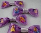 Disney Princess Bow Tie Style Hair Bows - Lavender Satin Ribbon