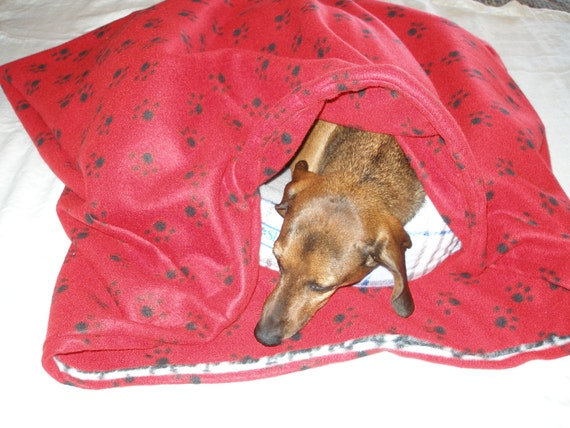 Dog Bed Snuggle Sack Handmade medium Red Holiday sack By: Dachshund Dens