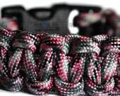Sneaky Pink Camo 550 Paracord Survival Bracelet -Dual Core-