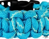Neon Turquoise Blue Glow in the Dark Paracord Survival Bracelet - Dual Core-
