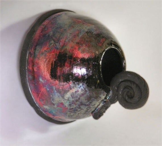 Raku Lint Feeder - speckled blue and copper red
