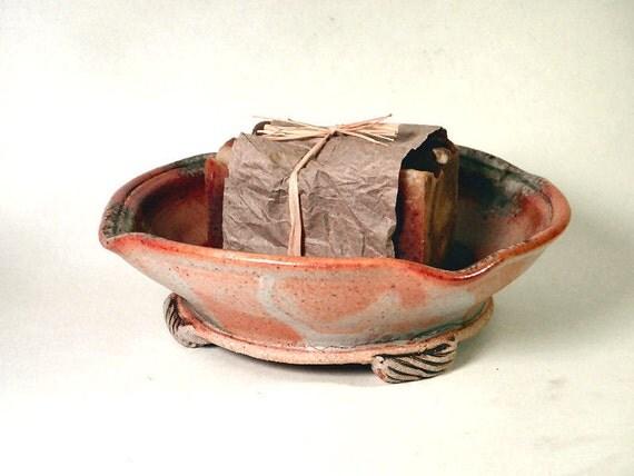 Soap Dish -orange shino and wood ash