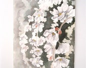Reserved- Flowers painting white gray Weeping Cherry, an original watercolor painting