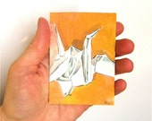Paper Crane 1, an original watercolor painting ACEO
