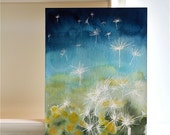 """Dandelion Painting, blue green, """"Seeds in the Wind""""- an original watercolor painting"""