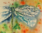 SALE! dragonfly watercolor painting large colorful original fine art blue green yellow gold