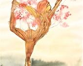 Christmas SALE! yoga painting watercolor tree landscape female yogi spring cherry tree