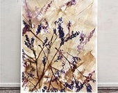"""watercolor and gouache floral painting, abstract, purple and brown titled """"Spring Riot"""""""