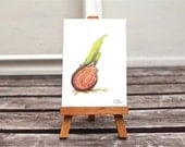 spring bulb tiny painting original watercolor painting brown green