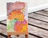 chrysanthemum  watercolor painting, tiny, ACEO, orange, joy,  fine art original, gift