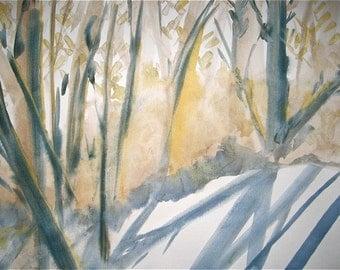 Snowy woods watercolor painting landscape, original fine art, winter, snow, original