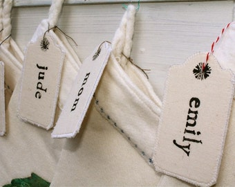 Personalized stocking name tags stamped- customize any Christmas Stocking, holiday stockings