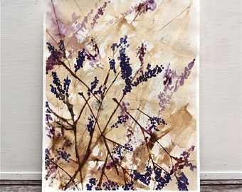 "watercolor and gouache floral painting, abstract, purple and brown titled ""Spring Riot"""