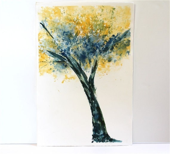 Tree painting- an original watercolor painting, blue yellow